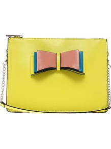 Across Body Bow Bag With Detachable Strap - secondary colour: blush; predominant colour: primrose yellow; occasions: casual, evening, occasion, holiday; type of pattern: light; style: shoulder; length: shoulder (tucks under arm); size: small; material: faux leather; finish: plain; pattern: colourblock; embellishment: bow