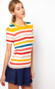 Summer Stripe Top - neckline: round neck; pattern: horizontal stripes; occasions: casual, holiday; length: standard; style: top; fibres: cotton - 100%; fit: body skimming; predominant colour: multicoloured; sleeve length: short sleeve; sleeve style: standard; texture group: knits/crochet; pattern type: knitted - fine stitch; pattern size: standard