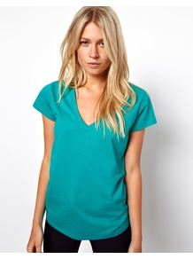 T Shirt With V Neck - neckline: low v-neck; pattern: plain; length: below the bottom; style: t-shirt; predominant colour: turquoise; occasions: casual, holiday; fibres: cotton - 100%; fit: loose; sleeve length: short sleeve; sleeve style: standard; pattern type: fabric; texture group: jersey - stretchy/drapey