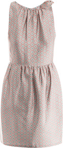 Bita Shoulder Bow Dress - style: shift; neckline: round neck; fit: fitted at waist; sleeve style: sleeveless; waist detail: twist front waist detail/nipped in at waist on one side/soft pleats/draping/ruching/gathering waist detail; predominant colour: blush; occasions: casual, occasion; length: just above the knee; fibres: silk - mix; shoulder detail: added shoulder detail; sleeve length: sleeveless; texture group: silky - light; pattern type: fabric; pattern size: standard; pattern: patterned/print