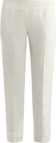Slim Leg Trousers - pattern: plain; waist: high rise; predominant colour: ivory; occasions: casual, evening; length: ankle length; fibres: polyester/polyamide - mix; fit: slim leg; pattern type: fabric; pattern size: standard; texture group: woven light midweight; style: standard