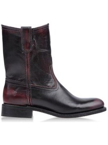 Boots Ankle Boots On Shoescribe.Com - predominant colour: aubergine; occasions: casual; material: leather; heel height: flat; heel: block; toe: round toe; boot length: ankle boot; style: standard; finish: plain; pattern: plain
