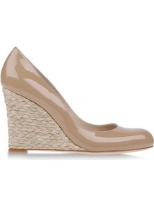 Espadrilles Espadrilles On Shoescribe.Com - predominant colour: stone; occasions: casual, evening, work, holiday; material: leather; heel height: high; heel: wedge; toe: round toe; style: courts; finish: patent; pattern: plain