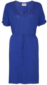 Jacksonville Short Sleeve Dress - style: shift; neckline: v-neck; pattern: plain; waist detail: belted waist/tie at waist/drawstring; predominant colour: royal blue; occasions: casual; length: on the knee; fit: body skimming; fibres: cotton - mix; sleeve length: short sleeve; sleeve style: standard; texture group: cotton feel fabrics; pattern type: fabric