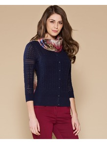 Felicity All Over Pointelle Cardigan - neckline: round neck; pattern: plain; bust detail: buttons at bust (in middle at breastbone)/zip detail at bust; predominant colour: navy; occasions: casual, work; length: standard; style: standard; fibres: cotton - 100%; fit: slim fit; sleeve length: 3/4 length; sleeve style: standard; texture group: knits/crochet; pattern type: knitted - big stitch; pattern size: standard