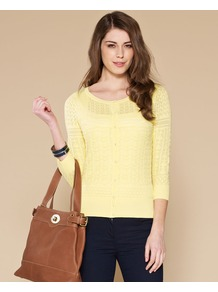 Felicity All Over Pointelle Cardigan - neckline: round neck; shoulder detail: contrast pattern/fabric at shoulder; bust detail: buttons at bust (in middle at breastbone)/zip detail at bust; predominant colour: primrose yellow; occasions: casual, evening, work, holiday; length: standard; style: standard; fibres: cotton - 100%; fit: slim fit; waist detail: fitted waist; sleeve length: 3/4 length; sleeve style: standard; texture group: knits/crochet; pattern type: knitted - other; pattern size: small & light; pattern: patterned/print