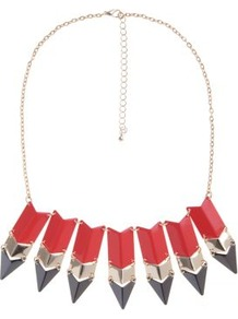 Orange And Gold Arrow Spike Necklace - predominant colour: bright orange; occasions: evening, occasion, holiday; style: charm; length: mid; size: large/oversized; material: chain/metal; finish: patent; embellishment: chain/metal