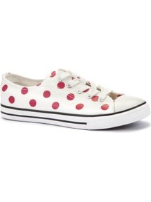 White Polka Dot Print Lace Up Trainers - predominant colour: white; occasions: casual; material: fabric; heel height: flat; toe: round toe; style: trainers; trends: sporty redux; finish: plain; pattern: polka dot