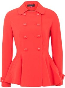 Red Double Button Peplum Coat - pattern: plain; length: standard; style: double breasted; predominant colour: true red; occasions: casual, evening, work; fit: tailored/fitted; fibres: polyester/polyamide - 100%; collar: shirt collar/peter pan/zip with opening; waist detail: peplum detail at waist; sleeve length: long sleeve; sleeve style: standard; trends: fluorescent; collar break: high; pattern type: fabric; pattern size: standard; texture group: woven light midweight