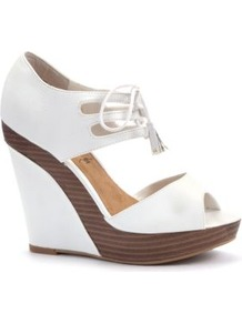 White Lace Up Wood Effect Peeptoe Wedges - predominant colour: white; occasions: casual, evening, holiday; material: faux leather; heel height: high; embellishment: studs; ankle detail: ankle tie; heel: wedge; toe: open toe/peeptoe; style: standard; finish: plain; pattern: plain