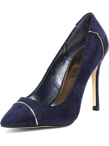 Blue Metal Pointed Courts - predominant colour: navy; occasions: evening, work, occasion; material: suede; heel height: high; heel: stiletto; toe: pointed toe; style: courts; finish: plain; pattern: plain