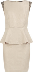 Ivory Embellished Dress - style: shift; length: mid thigh; neckline: round neck; sleeve style: capped; fit: tailored/fitted; pattern: plain; waist detail: peplum waist detail; predominant colour: stone; occasions: evening; shoulder detail: added shoulder detail; sleeve length: sleeveless; texture group: crepes; pattern type: fabric; embellishment: beading; fibres: viscose/rayon - mix