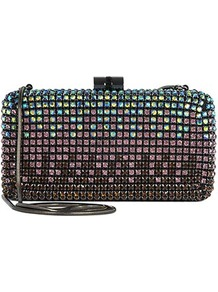 Rogeer Crystal Embellised Clutch - predominant colour: black; occasions: evening, occasion; type of pattern: heavy; style: clutch; length: hand carry; size: small; material: plastic/rubber; embellishment: crystals; pattern: plain; finish: metallic
