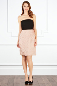 Elize Bandeau - neckline: strapless (straight/sweetheart); pattern: plain; sleeve style: strapless; waist detail: fitted waist; predominant colour: blush; occasions: evening, occasion; length: just above the knee; fit: fitted at waist &amp; bust; style: fit &amp; flare; fibres: viscose/rayon - 100%; bust detail: contrast pattern/fabric/detail at bust; sleeve length: sleeveless; texture group: sheer fabrics/chiffon/organza etc.; hip detail: ruffles/tiers/tie detail at hip; pattern type: fabric; pattern size: standard