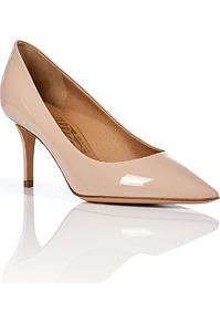 Nude Patent Leather Pointed Toe Susi Pumps - predominant colour: nude; occasions: evening, work, occasion; material: leather; heel height: mid; heel: stiletto; toe: pointed toe; style: courts; finish: patent; pattern: plain