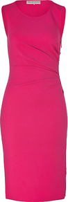Rosebud Draped Sheath Dress With Side Zip - style: shift; neckline: round neck; fit: tailored/fitted; pattern: plain; sleeve style: sleeveless; waist detail: twist front waist detail/nipped in at waist on one side/soft pleats/draping/ruching/gathering waist detail; hip detail: fitted at hip; predominant colour: hot pink; occasions: casual, evening, occasion; length: on the knee; fibres: cotton - stretch; sleeve length: sleeveless; texture group: crepes; pattern type: fabric