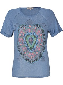 Denim Blue Multi Print Linen T Shirt - neckline: round neck; style: t-shirt; predominant colour: denim; occasions: casual, holiday; length: standard; fibres: linen - 100%; fit: body skimming; sleeve length: short sleeve; sleeve style: standard; texture group: linen; pattern type: fabric; pattern size: big & busy; pattern: patterned/print