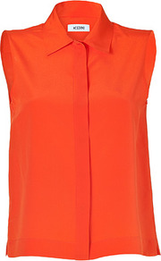 Bright Orange Sleeveless Silk Top - neckline: shirt collar/peter pan/zip with opening; pattern: plain; sleeve style: sleeveless; style: shirt; predominant colour: bright orange; occasions: casual, evening, work; length: standard; fibres: silk - 100%; fit: loose; sleeve length: sleeveless; texture group: silky - light; trends: fluorescent; pattern type: fabric
