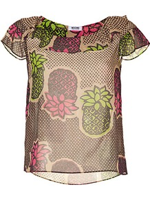 Honey/Pink Multi Flower Print Silk Tunic Top - neckline: round neck; sleeve style: angel/waterfall; style: tunic; bust detail: ruching/gathering/draping/layers/pintuck pleats at bust; occasions: casual, evening, work, holiday; length: standard; fibres: silk - 100%; fit: straight cut; back detail: longer hem at back than at front; predominant colour: multicoloured; sleeve length: short sleeve; texture group: sheer fabrics/chiffon/organza etc.; pattern type: fabric; pattern size: big &amp; busy; pattern: patterned/print