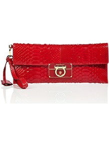 Red Python Wristlet Clutch - predominant colour: true red; occasions: evening, occasion; type of pattern: light; style: clutch; length: hand carry; size: small; material: animal skin; pattern: animal print; finish: patent