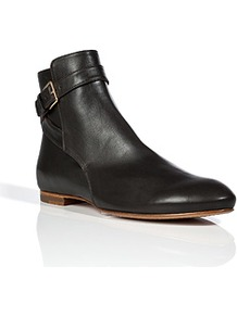 Charcoal Leather Ankle Boots - predominant colour: black; occasions: casual; material: leather; heel height: flat; embellishment: buckles; heel: standard; toe: round toe; boot length: ankle boot; style: standard; finish: plain; pattern: plain