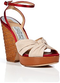 Nude/Red Multi Suna Wedge Sandals - predominant colour: nude; occasions: casual, evening, holiday; material: leather; heel height: high; ankle detail: ankle strap; heel: wedge; toe: open toe/peeptoe; style: standard; finish: plain; pattern: plain; embellishment: pleated