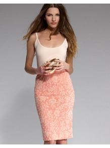 Embossed Floral Pencil Skirt - style: pencil; fit: tailored/fitted; waist: high rise; hip detail: fitted at hip; predominant colour: coral; occasions: casual, evening, work, occasion; length: on the knee; fibres: cotton - stretch; trends: high impact florals; pattern type: fabric; pattern size: small &amp; busy; pattern: florals; texture group: other - light to midweight