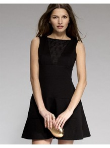Skater Shift Dress With Mesh Insert - length: mid thigh; neckline: strapless (straight/sweetheart); pattern: plain; sleeve style: sleeveless; predominant colour: black; occasions: evening, occasion; fit: fitted at waist &amp; bust; style: fit &amp; flare; fibres: polyester/polyamide - stretch; sleeve length: sleeveless; trends: volume; pattern type: fabric; texture group: jersey - stretchy/drapey