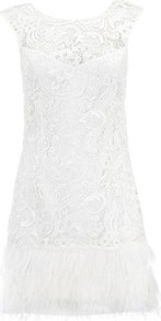 V I P Waxed Lace Feather Shift Dress - style: shift; length: mid thigh; neckline: round neck; sleeve style: capped; back detail: low cut/open back; predominant colour: white; occasions: evening, occasion, holiday; fit: body skimming; fibres: polyester/polyamide - 100%; sleeve length: short sleeve; texture group: lace; pattern type: fabric; pattern size: small & busy; pattern: florals; embellishment: lace