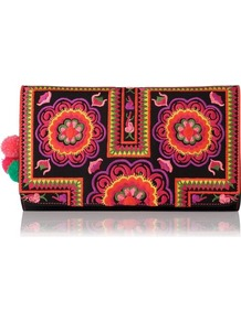 Tuk Tuk Embroidered Leather Clutch Bag Black - predominant colour: black; occasions: casual, evening, occasion, holiday; type of pattern: heavy; style: clutch; length: hand carry; size: small; material: leather; embellishment: embroidered; trends: high impact florals, fluorescent; finish: plain; pattern: patterned/print