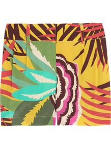 Printed Silk Shorts - style: shorts; pocket detail: pockets at the sides; length: short shorts; waist: mid/regular rise; predominant colour: yellow; occasions: casual, evening, holiday; fibres: silk - 100%; hip detail: side pleats at hip; waist detail: narrow waistband; trends: modern geometrics; fit: straight leg; pattern type: fabric; pattern size: big &amp; busy; pattern: patterned/print; texture group: other - light to midweight
