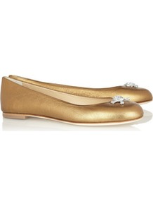 Metallic Textured Leather Ballet Flats - predominant colour: gold; occasions: casual, work; material: leather; heel height: flat; embellishment: crystals; toe: round toe; style: ballerinas / pumps; trends: metallics; finish: metallic; pattern: plain