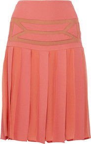 Pleated Crepe And Chiffon Skirt - fit: body skimming; style: pleated; waist detail: fitted waist; waist: mid/regular rise; predominant colour: coral; occasions: casual, evening, work, occasion, holiday; length: on the knee; fibres: polyester/polyamide - stretch; hip detail: structured pleats at hip; texture group: sheer fabrics/chiffon/organza etc.; pattern type: fabric; pattern size: small &amp; light; pattern: patterned/print