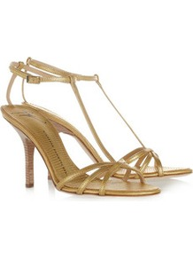 Snake Effect Leather Sandals - predominant colour: gold; occasions: evening, occasion; material: leather; heel height: high; embellishment: buckles; ankle detail: ankle strap; heel: stiletto; toe: open toe/peeptoe; style: strappy; trends: metallics; finish: metallic; pattern: animal print