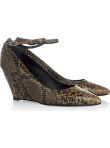 Snake Effect Leather Wedge Pumps - predominant colour: tan; occasions: evening, work; material: leather; heel height: mid; embellishment: buckles; ankle detail: ankle strap; heel: wedge; toe: pointed toe; style: courts; finish: plain; pattern: animal print