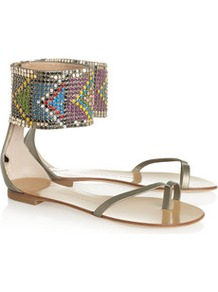 Metallic Leather And Resin Sandals - predominant colour: silver; occasions: casual, holiday; material: leather; heel height: flat; embellishment: beading; ankle detail: ankle strap; heel: stiletto; toe: toe thongs; style: flip flops / toe post; trends: metallics; finish: plain; pattern: patterned/print