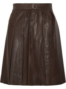 Boxer Leather Mini Skirt - length: mini; pattern: plain; fit: loose/voluminous; waist: high rise; predominant colour: chocolate brown; occasions: casual, evening; style: a-line; fibres: leather - 100%; hip detail: sculpting darts/pleats/seams at hip; texture group: leather; pattern type: fabric