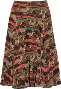 Running Impala Printed Silk Midi Skirt - length: below the knee; fit: loose/voluminous; waist: mid/regular rise; occasions: casual; style: a-line; fibres: silk - 100%; predominant colour: multicoloured; texture group: structured shiny - satin/tafetta/silk etc.; trends: statement prints; pattern type: fabric; pattern size: big & busy; pattern: patterned/print