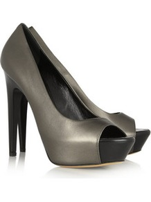 Metallic Leather Pumps - predominant colour: charcoal; occasions: evening, work, occasion; material: leather; heel height: high; heel: platform; toe: open toe/peeptoe; style: courts; trends: metallics; finish: metallic; pattern: plain