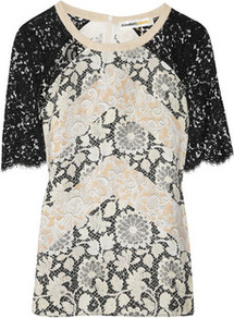 Josephine Printed Silk And Lace Top - neckline: round neck; shoulder detail: contrast pattern/fabric at shoulder; secondary colour: stone; predominant colour: mid grey; occasions: casual, evening, work, holiday; length: standard; style: top; fibres: silk - mix; fit: body skimming; sleeve length: short sleeve; sleeve style: standard; pattern type: fabric; pattern size: big &amp; busy; pattern: patterned/print; texture group: jersey - stretchy/drapey; embellishment: lace