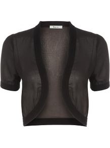 Black Chiffon Bolero - pattern: plain; style: bolero/shrug; length: cropped; neckline: collarless open; predominant colour: black; occasions: casual, evening, work, occasion; fibres: polyester/polyamide - 100%; fit: slim fit; sleeve length: short sleeve; sleeve style: standard; texture group: sheer fabrics/chiffon/organza etc.; pattern type: fabric
