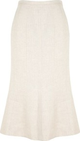 Stone Linen Skirt - length: below the knee; pattern: plain; fit: body skimming; waist: mid/regular rise; predominant colour: stone; occasions: casual, evening, work, occasion; style: fit & flare; fibres: linen - 100%; waist detail: narrow waistband; texture group: linen; pattern type: fabric