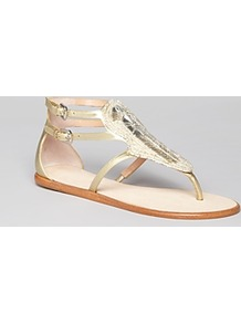 Thong Sandals Gitta Flat - predominant colour: gold; occasions: casual, holiday; material: leather; heel height: flat; ankle detail: ankle strap; heel: standard; toe: toe thongs; style: gladiators; trends: metallics; finish: metallic; pattern: plain