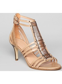 Sandals Kiki Mid Heel - predominant colour: nude; occasions: casual, evening, occasion, holiday; material: leather; heel height: mid; ankle detail: ankle strap; heel: stiletto; toe: open toe/peeptoe; style: strappy; finish: plain; pattern: plain; embellishment: chain/metal