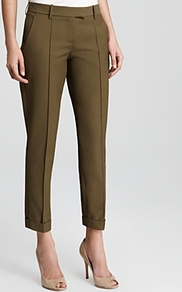 Pants Marsienna T - pattern: plain; waist: mid/regular rise; predominant colour: khaki; occasions: evening, work; length: ankle length; fibres: cotton - mix; fit: slim leg; pattern type: fabric; texture group: other - light to midweight; style: standard