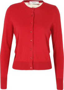 G554 Polka Dot Red Cardigan - neckline: round neck; pattern: plain; back detail: contrast pattern/fabric at back; predominant colour: true red; occasions: casual; length: standard; style: standard; fibres: cotton - 100%; fit: slim fit; sleeve length: long sleeve; sleeve style: standard; texture group: knits/crochet; pattern type: knitted - fine stitch; pattern size: standard