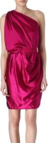 Asymmetric Dress - neckline: low v-neck; fit: fitted at waist; pattern: plain; sleeve style: sleeveless; style: asymmetric (top); waist detail: fitted waist; bust detail: ruching/gathering/draping/layers/pintuck pleats at bust; predominant colour: hot pink; occasions: evening, occasion; length: just above the knee; fibres: silk - 100%; hip detail: soft pleats at hip/draping at hip/flared at hip; sleeve length: sleeveless; texture group: structured shiny - satin/tafetta/silk etc.; pattern type: fabric