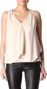 Jantine Top - neckline: v-neck; pattern: plain; sleeve style: sleeveless; bust detail: ruching/gathering/draping/layers/pintuck pleats at bust; predominant colour: blush; occasions: casual, evening, work, holiday; length: standard; style: top; fibres: silk - 100%; fit: loose; sleeve length: sleeveless; texture group: silky - light; pattern type: fabric