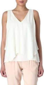 Jantine Top - neckline: v-neck; pattern: plain; sleeve style: sleeveless; bust detail: ruching/gathering/draping/layers/pintuck pleats at bust; predominant colour: white; occasions: casual, work, occasion; length: standard; style: top; fibres: silk - 100%; fit: body skimming; waist detail: ruffles at waist; sleeve length: sleeveless; texture group: silky - light; pattern type: fabric