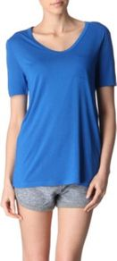 Classic T Shirt - pattern: plain; style: t-shirt; predominant colour: diva blue; occasions: casual, work, holiday; length: standard; neckline: scoop; fibres: viscose/rayon - 100%; fit: loose; sleeve length: short sleeve; sleeve style: standard; pattern type: fabric; pattern size: standard; texture group: jersey - stretchy/drapey